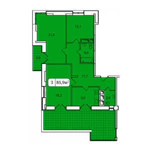 Планировка 3-комнатной квартиры в Аристово-Митино